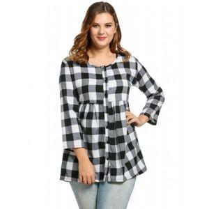 Tops - Peplum Flannel Shirt Blouse